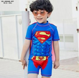 Đồ bơi liền Superman khăn choàng kèm nón cho bé trai