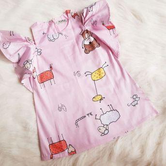 Đầm suông trễ vai cho bé gái ( size nhỏ )