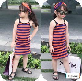 Đầm thun 2 dây body xẻ tà kèm turban cho bé gái (nhỏ)
