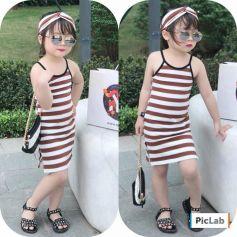 Đầm thun 2 dây body xẻ tà kèm turban cho bé gái (lớn)