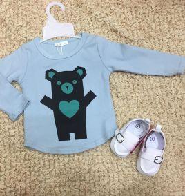 Áo thun tay dài in hình gấu bé trai nhí