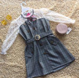 Đầm suông sọc caro sang trọng cho bé gái( lớn)
