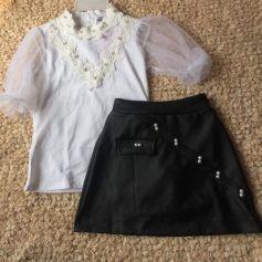Set thiết kế áo trắng váy da đen( nhí)