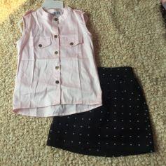 Set thiết kế áo hồng váy chấm bi đen ( nhí)