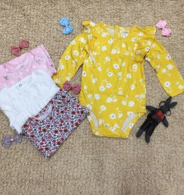 Set 4 bodysuit dài tay cho bé gái