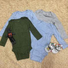 Set 4 bodysuit dài tay cho bé trai