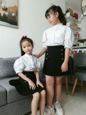 Set thiết kế áo tay phồng váy da đen ( size Nhỏ )