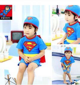 Đồ bơi Superman liền thân kèm nón, áo choàng cho bé trai