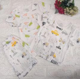 Bộ cotton bé trai họa tiết thương hiệu DOKMA