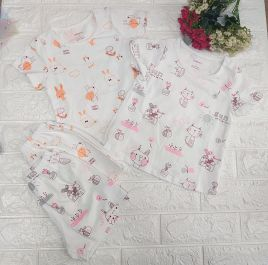 Bộ cotton bé gái họa tiết đáng yêu thương hiệu DOKMA