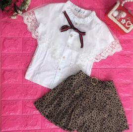 Set váy xòe bé gái áo tiểu thư kèm chân váy xòe 2 màu
