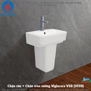 Chậu rửa + Chân treo tường Viglacera V50 (VI50)
