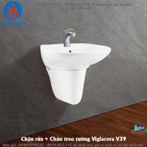 Chậu rửa + Chân treo tường Viglacera V39