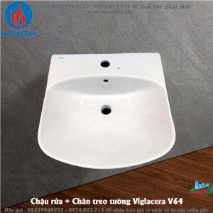 Chậu rửa + Chân treo tường Viglacera V64