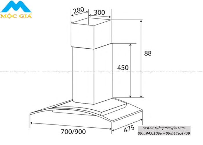 Kích thước chuẩn Máy hút khử mùi KAFF KF-GB702/GB902