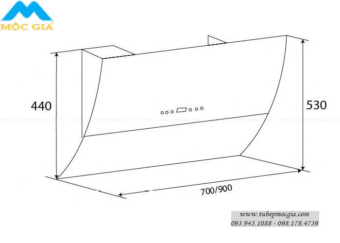 Kích thước chuẩn Máy hút khử mùi KAFF KF-LUX AT70H/AT90H