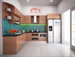 Tủ bếp ván MFC vân gỗ chữ L