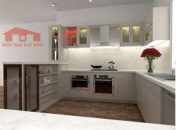 Tủ bếp MFC hình chữ U có quầy  bar