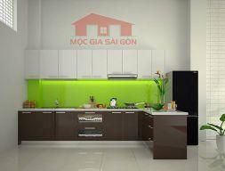 Tủ bếp gỗ Acrylic hình chữ L hiện đại