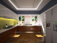 Tủ bếp Acrylic màu trắng gương bóng kính