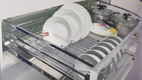 Giá xoong nồi , bát đĩa đa năng inox bóng ES61275 - Phụ kiện tủ bếp