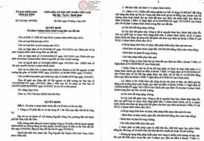Công ty CP Đầu tư và Xây dựng số 1 Hà Tĩnh bị xử phạt hơn 400 triệu đồng