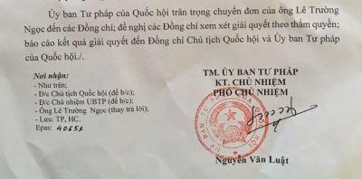 Ủy ban tư pháp của Quốc Hội đề nghị làm rõ vụ án Lê Thảo Nguyên