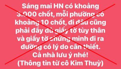 Truy tìm đối tượng tung tin đồn Hà Nội có 3.000 chốt kiểm dịch