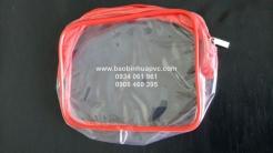 Túi PVC trong suốt viền màu dây kéo vải