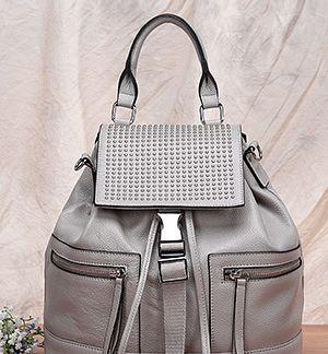 Khaki Suedette Panel Saddle Bag