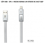 Cáp USB - IP6 + micro Remax 1m Strive RC 042T Dẹp