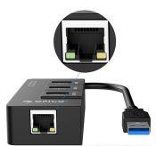 Bộ chia USB HUB 3 cổng USB 3.0 tích hợp cổng Lan Gigabit orico HR01-U3