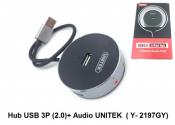Hub USB 3p (2.0) +Audio Unitek Y-2197GY