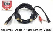 Cáp Vga + Audio to HDMI 1.8m(KY-V 552B).