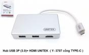 Hub USB 3p (3.0) + HDMI Unitek (Y-3707 Cổng Type-C)