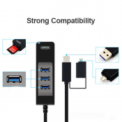Unitek 3048A USB3.0 3-Port Hub + SD Card Reader + OTG Adaptor