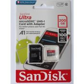 Thẻ nhớ SANDISK TF Ultra 100mb A1+Adapter 200Gb
