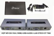 Hộp nói dài VGA (150m)+USB+AUDIO to LAN DTech DT 7062