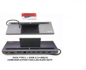 DOCK Type C ra 2 USB (3.1) + USB (2.0) + HDMI + DISPLAYPORT + VGA + LAN + AUDIO + SD/TF