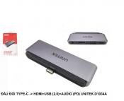 Đầu chuyển Type c sang HDMI + USB (2.0) + AUDIO UNITEK D1034A