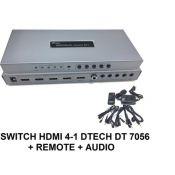 Bộ gộp HDMI 4 vào 1 ra DTECH DT 7056 có Remote