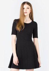 Đầm xòe H&M họa tiết chìm màu đen
