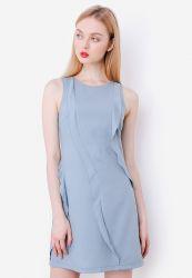 Đầm Marc phối bèo dọc màu xanh jean