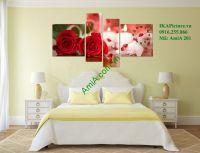 Mẫu tranh hoa hồng trang trí phòng ngủ lãng mạn