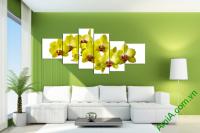 Tranh Hoa phong lan vàng ghép nhiều tấm khổ cỡ lớn