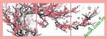 Bán tranh đồng hồ hoa đào ghép bộ đẹp AmiA 299