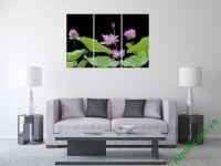 Mẫu Tranh hoa sen ghép bộ 3 tấm đẹp AmiA 365