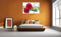 Tranh hoa hồng ghép bộ treo phòng ngủ đẹp lãng mạn