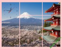Tranh phong cảnh núi phú sỹ và hoa anh đào Nhật Bản