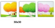 TSD-05 - Bộ ba bức tranh sơn dầu đẹp cỡ nhỏ mầu sắc tươi sáng
